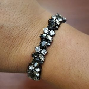 Stretch hematite & crystals bracelet